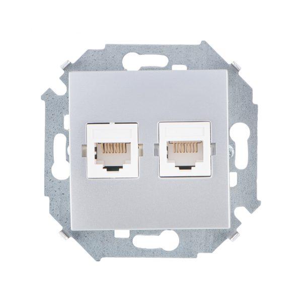 Розетка компьютерная двойная RJ45 кат.5е, Systimax, алюминий Simon 1591593-033 1
