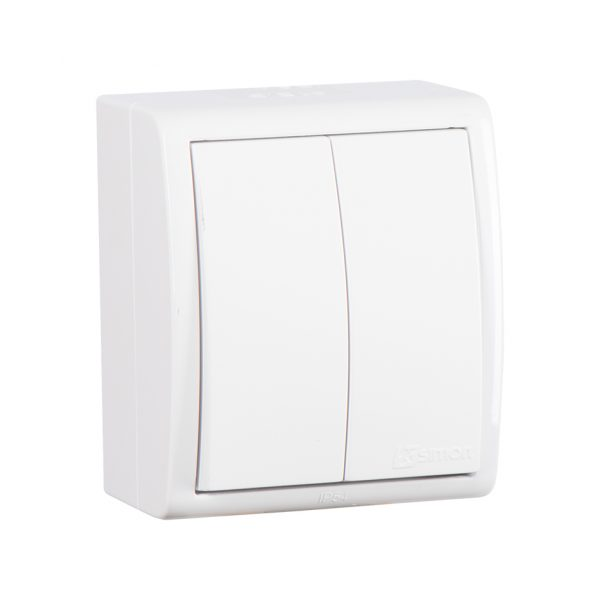 Выключатель двухклавишный, IP54, 10А 250В, винтовой зажим, S15 Aqua, белый Simon 1594398-030 1