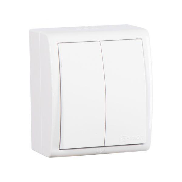 Выключатель двухклавишный с подсветкой, IP54, 10А 250В, винтовой зажим, S15 Aqua, белый Simon 1594399-030 1