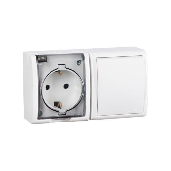 Блок, розетка с заземлением Schuko 16А 250В + выключатель одноклавишный 10А 250В, IP54, S15 Aqua, бе Simon 1594511-030 1