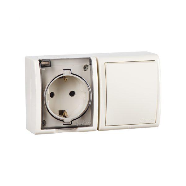 Блок, розетка с заземлением Schuko 16А 250В + выключатель одноклавишный 10А 250В, IP54, S15 Aqua, сл Simon 1594511-031 1