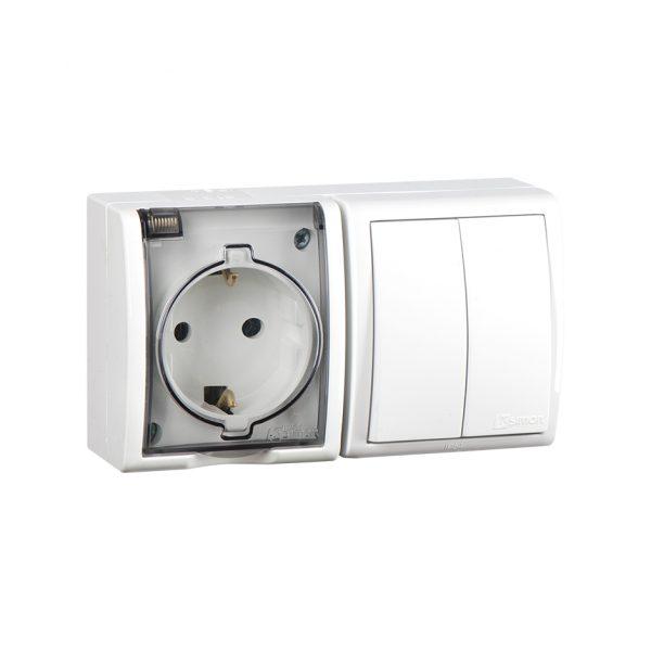 Блок, розетка с заземлением Schuko 16А 250В + выключатель двухклавишный 10А 250В, IP54, S15 Aqua, бе Simon 1594515-030 1