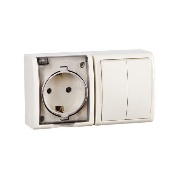 Блок, розетка с заземлением Schuko 16А 250В + выключатель двухклавишный 10А 250В, IP54, S15 Aqua, сл Simon 1594515-031 1