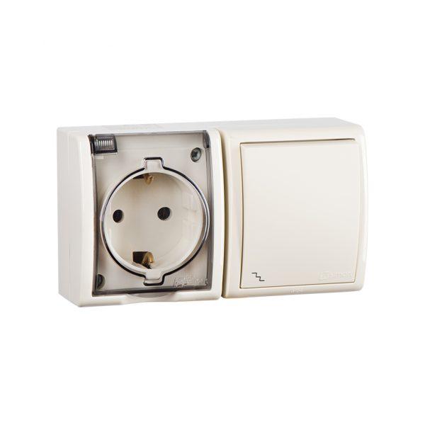 Блок, розетка с заземлением Schuko 16А 250В + выключатель одноклавишный проходной 10А 250В, IP54, S1 Simon 1594516-031 1