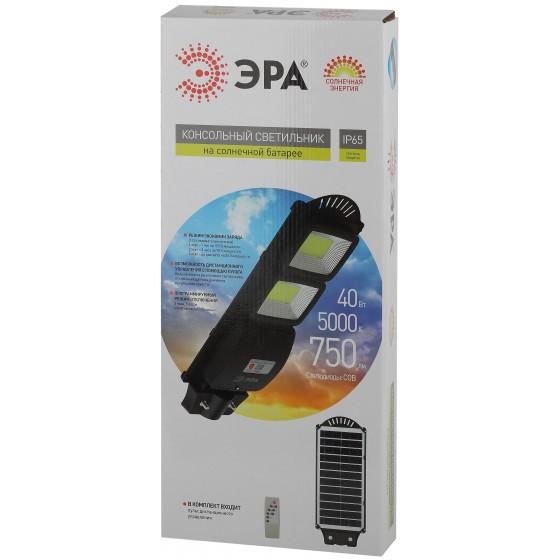 ЭРА Консольный светильник на солн. бат.,COB,40W, с датч. движ.,ПДУ,750lm, 5000К, IP65 7
