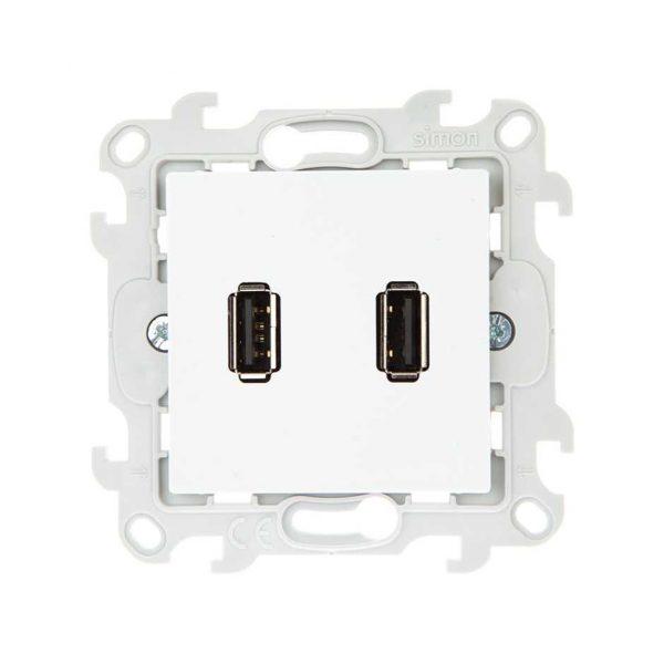 Коннектор 2хUSB, бел Simon 2411090-030 1