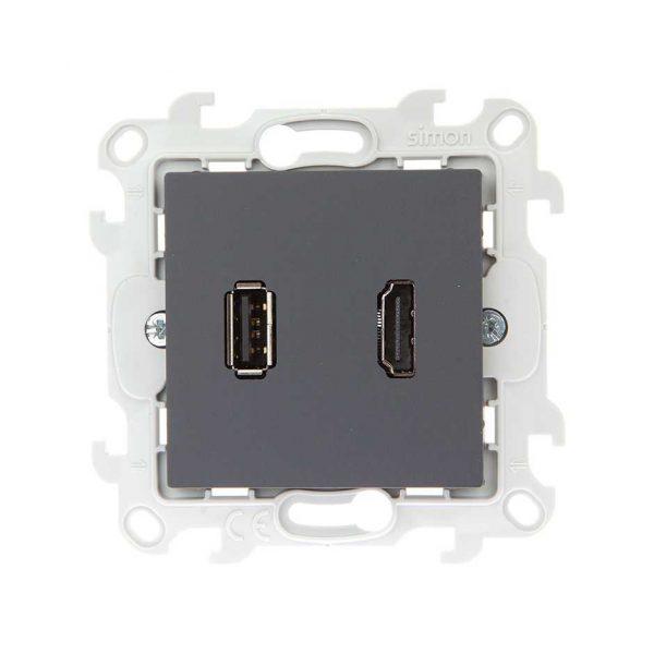 Коннектор HDMI+USB 2.0, графит Simon 2411095-038 1