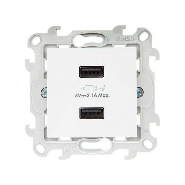 Зарядное устройство розетка 2хUSB, бел Simon 2411096-030 1