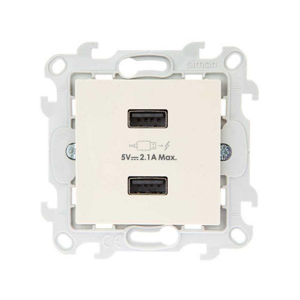 Зарядное устройство розетка 2хUSB, сл кость Simon 2411096-031 1