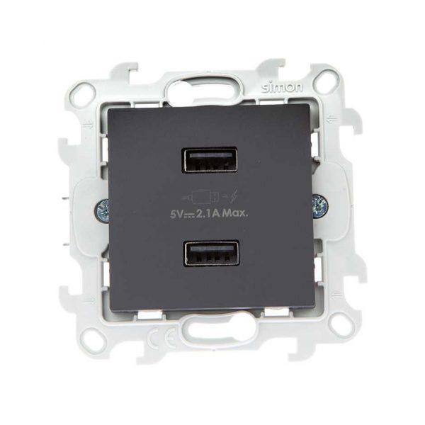 Зарядное устройство розетка 2хUSB, графит Simon 2411096-038 1
