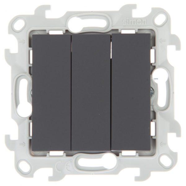 Трехклавишный выключатель, графит Simon 2450391-038 1