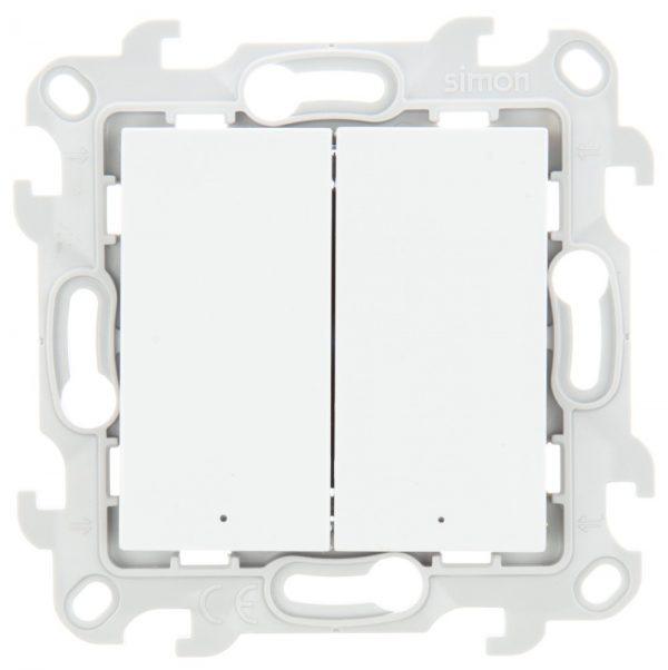 Двухклавишный выкл с подвсеткой, бел Simon 2450392-030 1