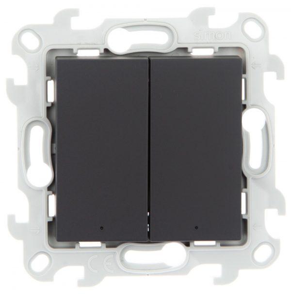 Двухклавишный выкл с подвсеткой, графит Simon 2450392-038 1