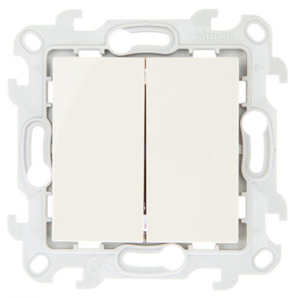 Двухклавишный выключатель, сл кость Simon 2450398-031 1