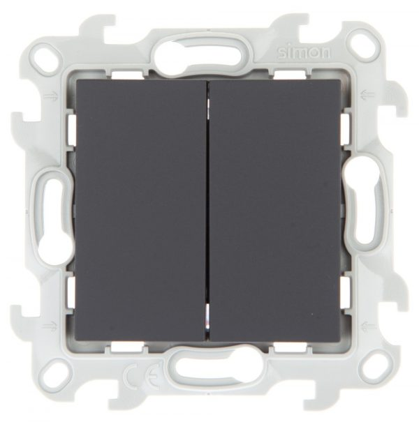 Двухклавишный выключатель, графит Simon 2450398-038 1