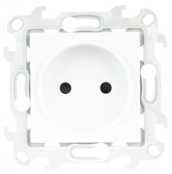 Розетка 2К с защ штор, бел Simon 2450441-030 1