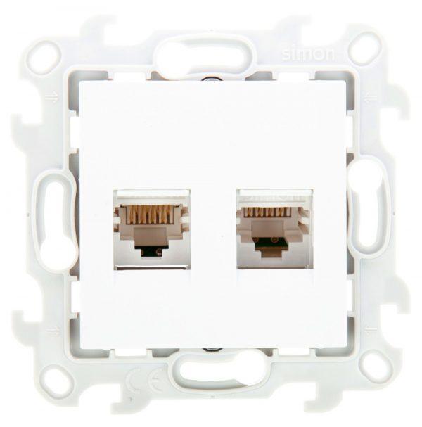 Розетка 2хRJ45 кат 5е UTP, бел Simon 2450593-030 1