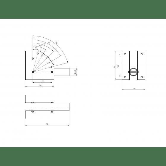 SPP-AC2-0-230-060 ЭРА Кронштейн для уличного светильника с перемен углом 230*150*130 d60mm 2