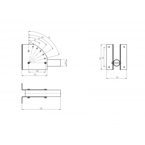 SPP-AC2-0-230-048 ЭРА Кронштейн для уличного светильника с перемен углом 230*150*120 d48mm 2