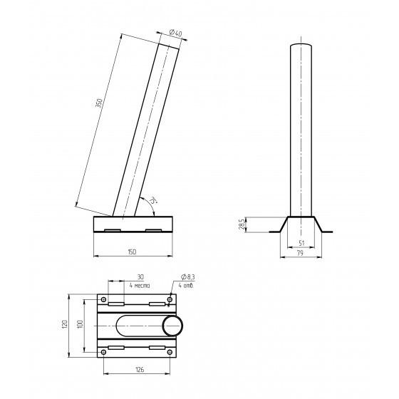 SPP-AC5-0-400-048 ЭРА Кронштейн на столб под бандажную ленту 122*150*400, d 48mm 4