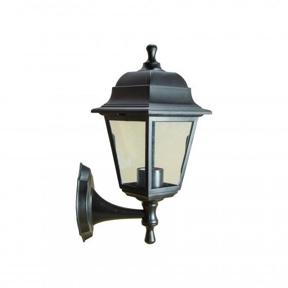 НБУ 04-60-001 черный ЭРА Светильник садово-парковый Леда настенный четырехгранный черный Е27 1