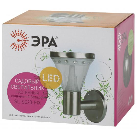 SL-SS23-FIX ЭРА Садовый светильник на солнечной батарее, сталь, стальной, 23 см 4