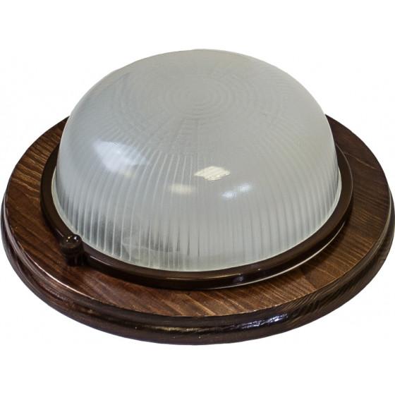 НБО 03-60-021 ЭРА Светильник Кантри дерево/стекло IP54 E27 max 60Вт D220 КРУГ ОРЕХ 1