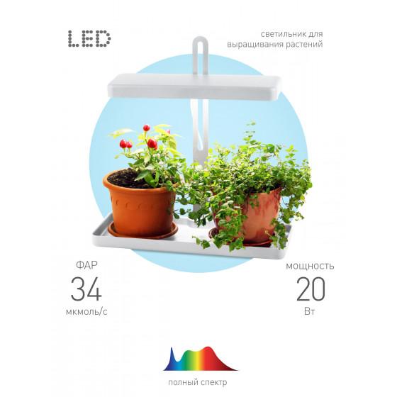 ЭРА Настольный светильник полного спектра FITO-20W-QLED-W 3