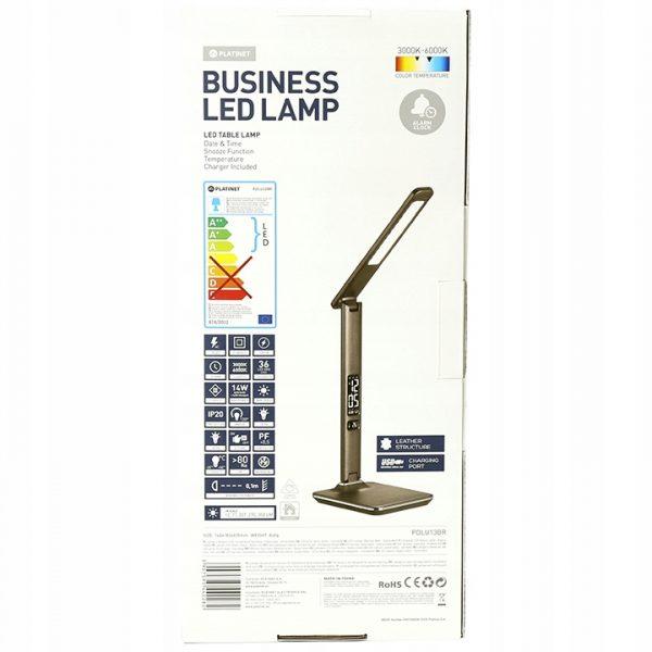 Настольная светодиодная лампа PLATINET 14W коричневая (выбор цвета, регулировка интенсивности, зарядка USB) [PDLU13BR] 2