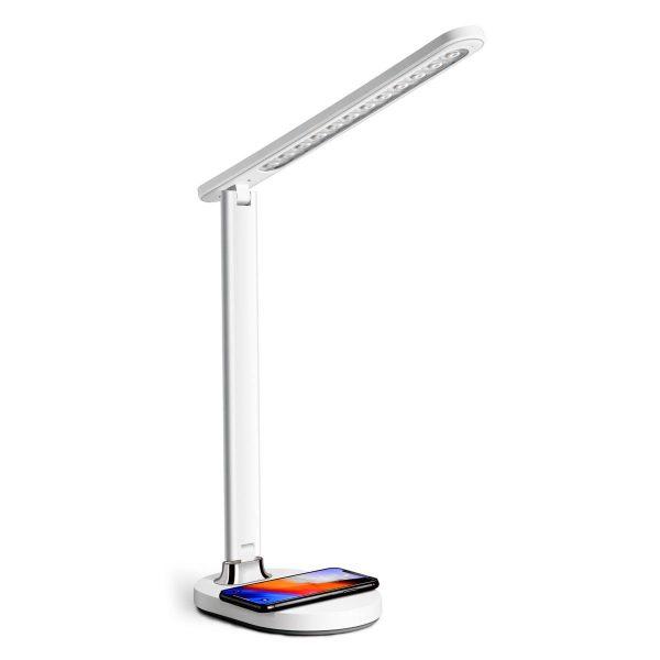 Настольная светодиодная лампа PLATINET 18W белая с беспроводной зарядкой устройств [PDL081W] 1