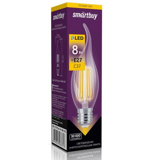 Светодиодная (LED) лампа Smartbuy C37 Filament свеча на ветру E27 1